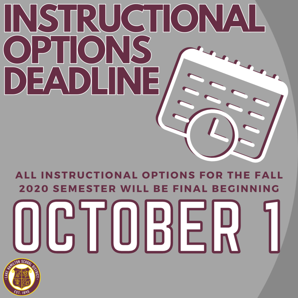 Instructional Options Deadline for Fall Semester