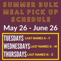 Summer Bulk Meal Pick Up Schedule