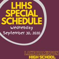 Special High School Schedule:  Wednesday, September 30